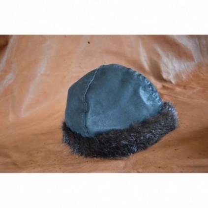Dark Birka-style hat, opussum fur